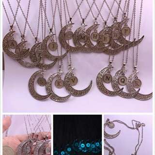 Crescent Moon Initial Necklace