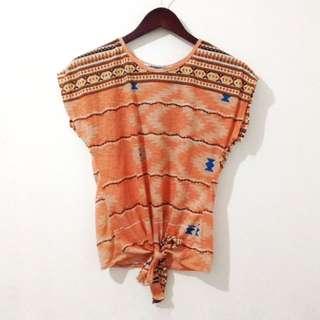 Orange Aztec Top
