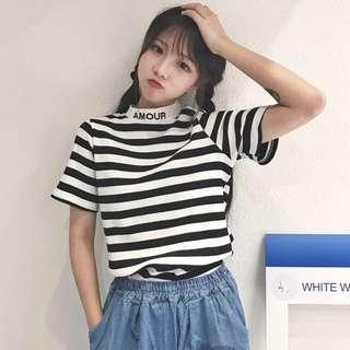 🚚 韓版立領黑白條紋短版衣👍