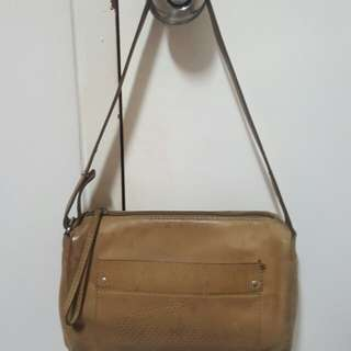 Authentic Lacoste Brown Leather Shoulder Bag
