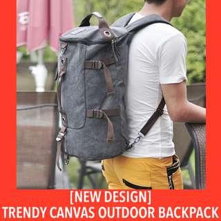 [2017 Design!] Vintage Canvas Outdoor Back Pack. Hiking Pack Sling Bag Men Travel Round Tube Shoulder Bag