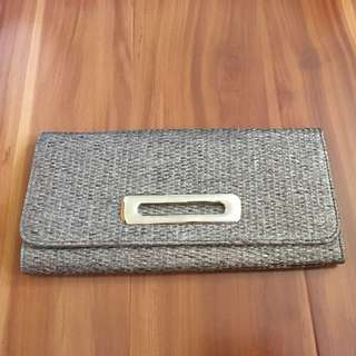 Pewter Woven Oversized Clutch