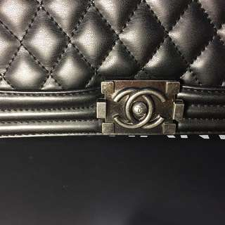 Chanel black silver boy bag