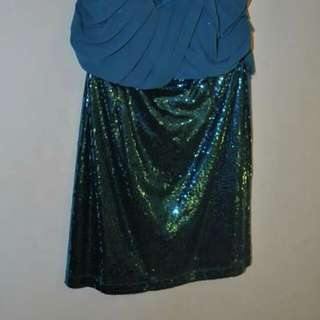 Sparkle Sequence Teal party dress