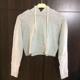 sweater crop light grey (hoodie) h&m