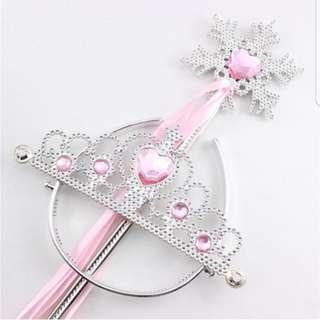 *SALE @ $7.90!*Princess Tiara Crown And Snowflake Wand Birthday Party Supplies Kids Children Girls Costume
