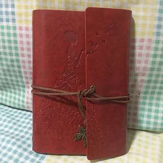 BN Maroon Colour Leather Craved Traveling Journal Planner Diary Organiser