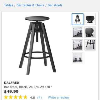 Ikea Dalfres bar stools black