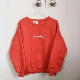 Red sweatshirt jumper
