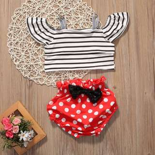 2PCS Clothing Set ( Striped Top + Polka Dot Shorts ) Newborn Baby Girl