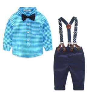 Baby Boy Newborn Gentleman Suit ( Plaid Shirt+Bow Tie+Suspender Trousers )