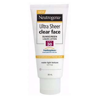 🎁 Neutrogena Ultra Sheer Clear Face Sunscreen Lotion SPF30