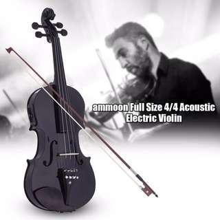 ammoon Electric Acoustic Violin (Black)