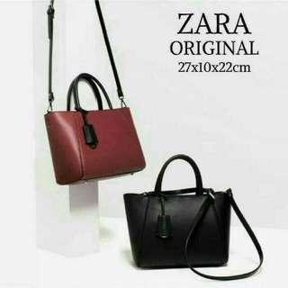 Zara Citybag Trapez Maroon