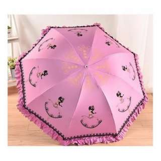 UV Umbrella - Lady Lace Elegant Princess Vinyl Foldable Umbrella with Cover