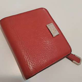 Authentic coach small red leather purse with coins and bill slots