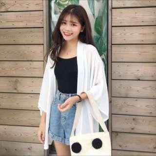 🚚 韓版純色中長款雪紡防曬衣襯衫外套