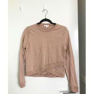 Kookai Camel Caramel Lightweight Sweater Cross Over Detail Size 6-8