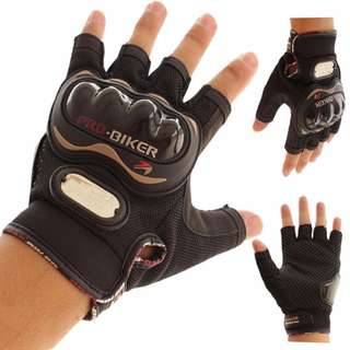 Motorcycle Gloves Pro biker half finger Racing motocross Black