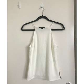 BNWT Forever 21 White High Neck Singlet Top With Lining Size Small