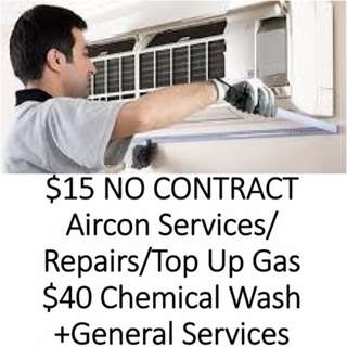 Aircon Service $15,Chemical Wash $40,AntiBacterial Steam $30