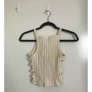 BNWT Forever 21 Cream Knit Tank Top With Lace Up Side Detail Size Medium