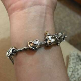 Preloved Pandora Ribbon of Love (heart) Charm - authentic