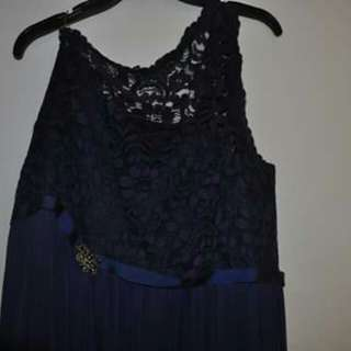 Navy Blue Shoulder Lace Chiffon Gown