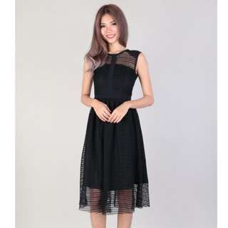 Prairie Netted Midi Dress In Black (MGP Label)