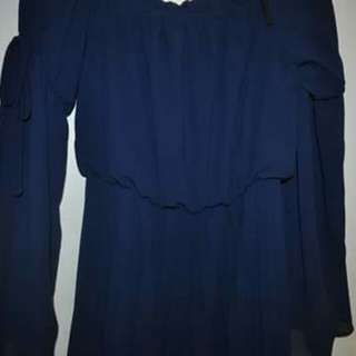 Navy Chiffon Short Dress w Ties