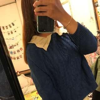甜美深藍色翻領針織長袖