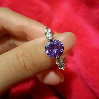 💍Purple CZ Stirling Silver Ring 6