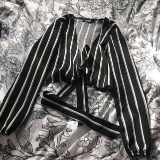 Missguided black and white stripe tie crop
