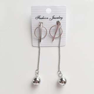 Silver korean metal ball drop hoop earrings