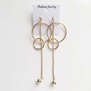 New gold korean metal hoop ball drop chain earrings