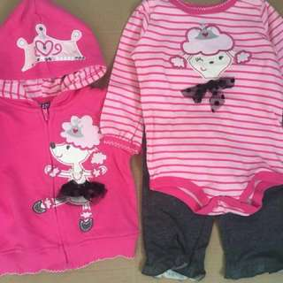 6-9M 12M Baby poodle hoody 3pieces set