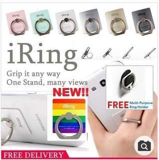 🚚 CLEARANCE iRing WITH FREE HOOK! Bunker ring /Phone stand /Ring Holder(iPhone/Android/iPad/Tablet/Xiaomi/Oppo)