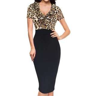 Leopard print/ black one piece dress (Size 10-12)