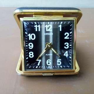 Vintage citizen windup foldable alarm clock
