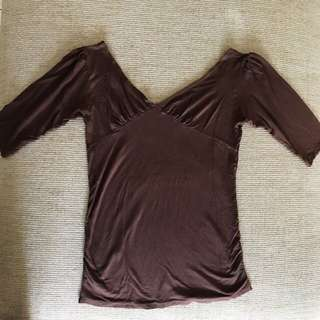 Brown Sabrina Top