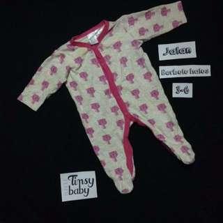 Baby girl pink sleepsuit baju tidur