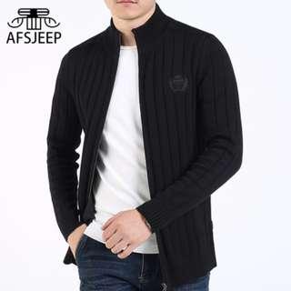 Jeep 加絨針織衫 純棉毛衣 夾克