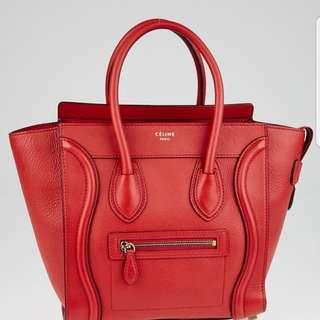 dded3962e85b Celine Luggage Medium Red Tote Bag
