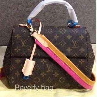 READY jual tas LV Cluny Monogram LEATHER MIRROR - tali pink