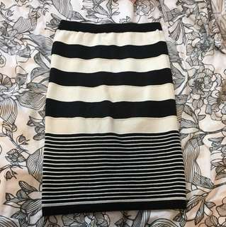 Knit midi stripe skirt