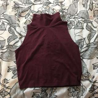 Turtle neck crop top asos burgundy
