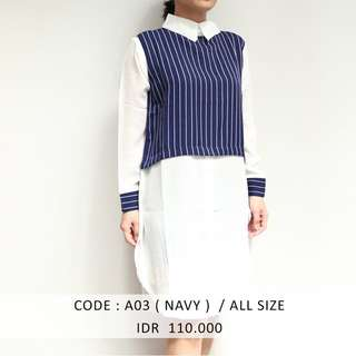 (SALE 50 ribu) NAVY SHIRTDRESS MURAH