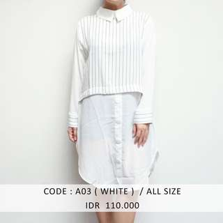 (SALE 50 ribu) WHITE SHIRTDRESS MURAH