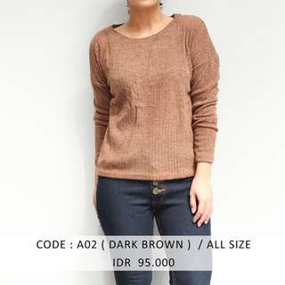 (SALE 50 ribu) DARK BROWN BASIC SWEATER