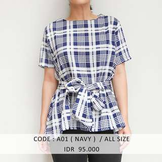 (SALE 50 ribu) Navy Bow Top